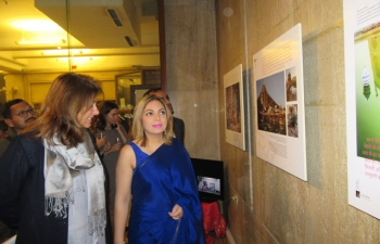 Ambassador Pooja Kapur inaugurating the 'Apna Apna Bharat'(My India) photo exhibition on 25 September 2017 organized by the alumni of the Indology Department of Sofia University.