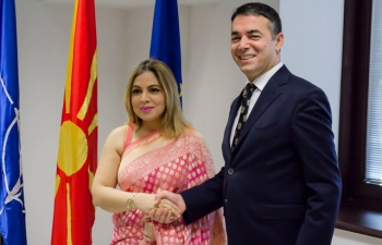 Ambassador Pooja Kapur called on Foreign Minister of Macedonia, H.E. Nikola Dimitrov to present a copy of her credentials. They had a wide ranging discussion on how to take relations between India and Macedonia from strength to strength.
