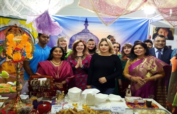 The Embassy of India along with local partners participated in the International Charity Bazaar, Sofia on 3 December 2017. Indian cuisine, handicrafts, henna application and arts were some of the things on offer, and were eagerly snapped up by visitors. All proceeds were donated to charity.