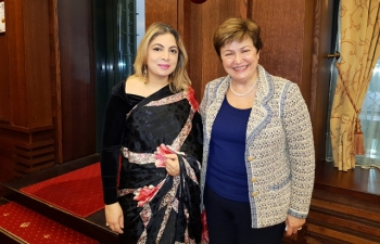 Ambassador Pooja Kapur met Ms Kristalina Georgieva, CEO of the World Bank, at a breakfast hosted by the latter for select Ambassadors