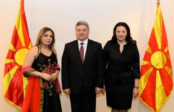Ambassador Pooja Kapur attended a Reception hosted by H.E. President Dr. Gjorge Ivanov of Macedonia and First Lady Madame Maya Ivanova in Gevgelija for the diplomatic corps to mark the Orthodox Christmas and New Year.