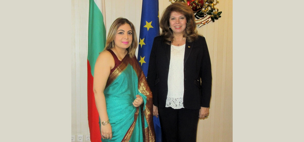 Ambassador Pooja Kapur called on the Hon'ble Vice President of Bulgaria, H.E. Mrs.  Iliana Iotova on 15 February 2018. They comprehensively discussed bilateral relations and took positive note of their reinvigoration.