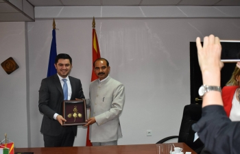 Hon'ble Minister of State for Textiles, Shri Ajay Tamta  visited Macedonia from 6-8 May 2018. He had bilateral discussions with the Economy Minister Mr Kreshnik Bekteshi and met senior representatives of the Textiles Cluster as well as the Balkan India Business Association. He also engaged with the Indian diaspora and visited textile & garment factories and agri-farms.