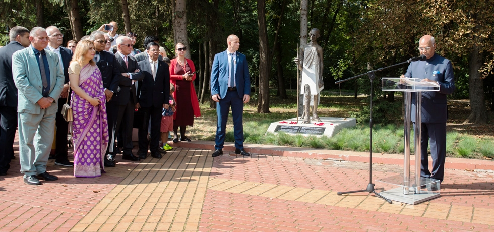 President of India H.E. Mr. Ram Nath Kovind addressing the gathering after unveiling the statue of Mahatma Gandhi with President of Bulgaria H.E. Mr. Rumen Radev at South Park Sofia