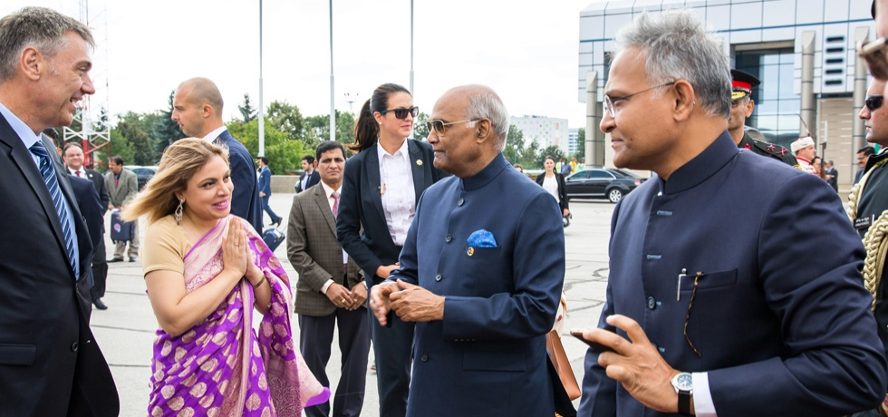 Ambassador Pooja Kapur seeing off  Honourable President of India H.E. Mr. Ram Nath Kovind at Sofia Airport  after his successful  visit to Bulgaria