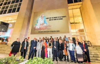An open-air LED projection of a film on Mahatma Gandhi was done in the historic heart of Sofia on 2nd October 2018.  Members of the diplomatic corps, media, and Bulgarians & Indians from various walks of life watched the screening.