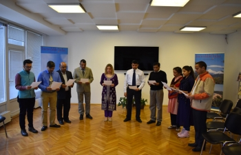 The National Voters Day Pledge was administered by Ambassador Pooja Kapur to the India based Embassy officers and staff on Friday 25 January 2019 at 1100 hrs at the Embassy Premises.
