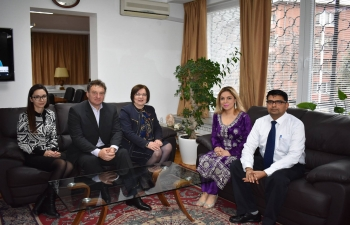 Mayor of Troyan Ms. Donka Mihaylova accompanied by Mr. Ivan Chakarov, Director, National Exhibition, Oreshak, met Ambassador Pooja Kapur and discussed India's participation in the International Festival of Arts and Crafts to be held in Oreshak from 3-5 May 2019.