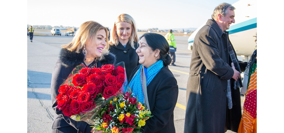 Ambassador Pooja Kapur receiving Honourable External Affairs Minister of India Smt. Sushma Swaraj at Sofia Airport on 16 February 2019 during her visit to Bulgaria