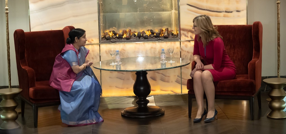 Honourable External Affairs Minister Smt. Sushma Swaraj had a tete-a-tete with Deputy Prime Minister and Foreign Minister of Bulgaria Ekaterina Zaharieva prior to the delegation level talks on 16 February 2019