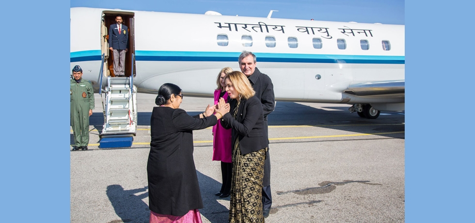 Ambassador Pooja Kapur seeing off  Honourable External Affairs Minister of India Smt. Sushma Swaraj at Sofia Airport on 17 February 2019 after her official visit to Bulgaria