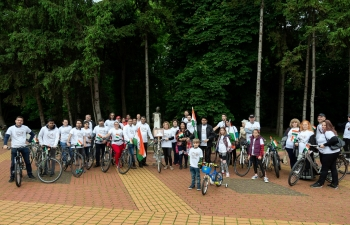 The Embassy of India, Sofia organized a Cycling event on the Occasion of World Cycling Day, to commemorate the 150th Birth Anniversary of Mahatma Gandhi, commencing at the statue of Mahatma Gandhi at South Park, Sofia on 3 June 2019.