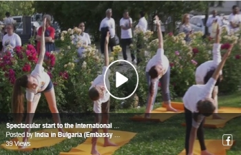 Spectacular start to the International Yoga Day celebrations in Bulgaria with yoga in the foreground of the iconic Alexander Nevsky cathedral in Sofia.