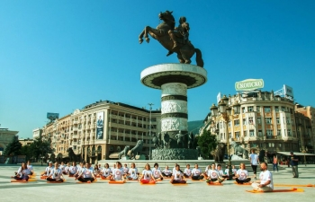 The 5th  International Yoga Day was celebrated enthusiastically in North Macedonia with a yoga flash at the iconic Macedonia Square and multiple events at City Hall.