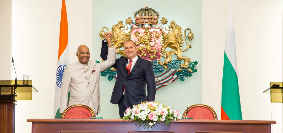 President of India H.E. Mr. Ram Nath Kovind and President of Bulgaria H.E. Mr. Rumen Radev after the delegation level talks on 5 September 2018.