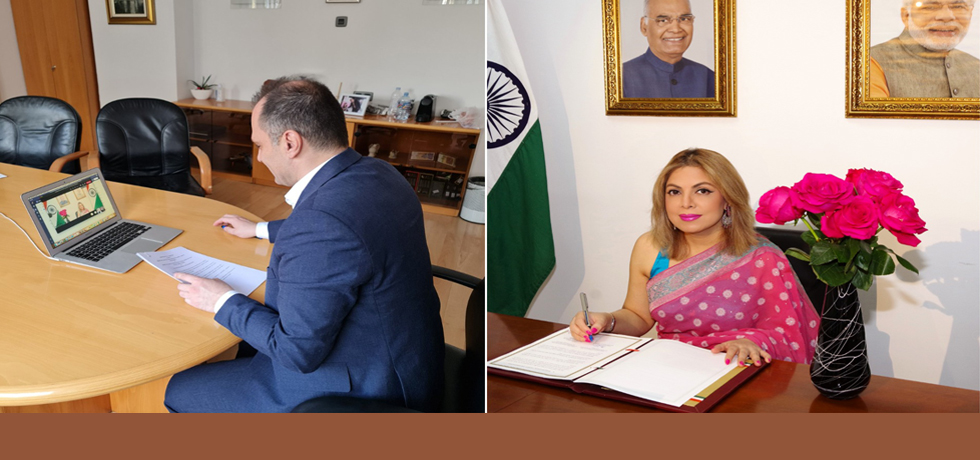 Signing of MoU on Health between India and North Macedonia by Health Minister H.E. Mr. Venko Filipce and Ambassador H.E. Ms. Pooja Kapur