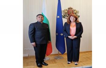 Ambassador Sanjay Rana called on Hon'ble Vice-President of the Republic of Bulgaria, H.E. Ms. Iliana Iotova on 28 September 2021.
